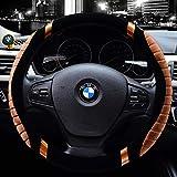 Valleycomfy Microfiber Leather Steering Wheel Covers Universal 15 inch (601-Brown)