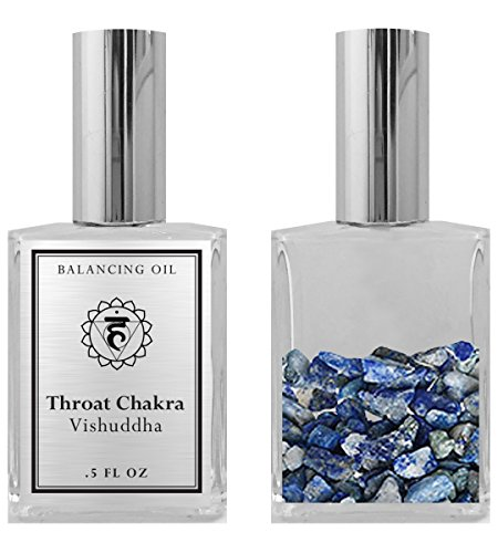 - 5th Chakra Balancing Oil - Vishuddha Throat Chakra Aromatherapy - Roll On Pulse Points - Infused with Sodalite Crystals and Juniper Essential Oil - BIOS APOTHECARY