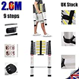 Aluminium Telescopic Ladders Multi-Purpose Foldable Extension Building Ladder With Safety Lock Anti-Slip Rubber (2.6M)