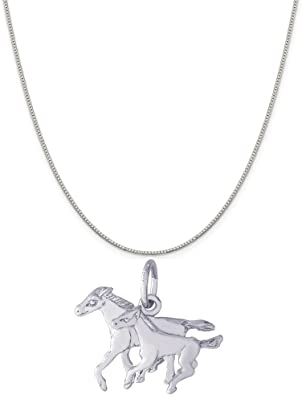 Box or Curb Chain Necklace Rembrandt Charms Two-Tone Sterling Silver Flat Horse Head Charm on a Sterling Silver 16 18 or 20 inch Rope