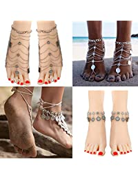 Jstyle 2Pairs Anklets for Women Girls Foot Jewelry Barefoot Sandles Beach Wendding Coin Tassel Silver Anklet Bracelet
