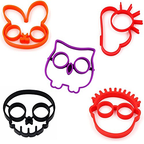 MKLOT Silicone Egg Mold 5 in 1 Bunny Owl Skull Cloud Clown Novelty Cooking Tool Set(5 in 1) Reusable Non Stick Bakeware Accessories Kitchen Tools - 5 Inch Ring Mold