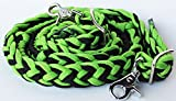 Roping Knotted Horse Tack Western Barrel Reins Rein Nylon Braided Green 60705