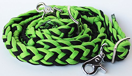 PRORIDER Roping Knotted Horse Tack Western Barrel Reins Rein Nylon Braided Lime 60705 ()