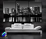 Original by BoxColors Large 30''x 60'' 3 Panels 30''x20'' Ea Art Canvas Print Austin tx Skyline Black & White Wall Home (Framed 1.5'' Depth)