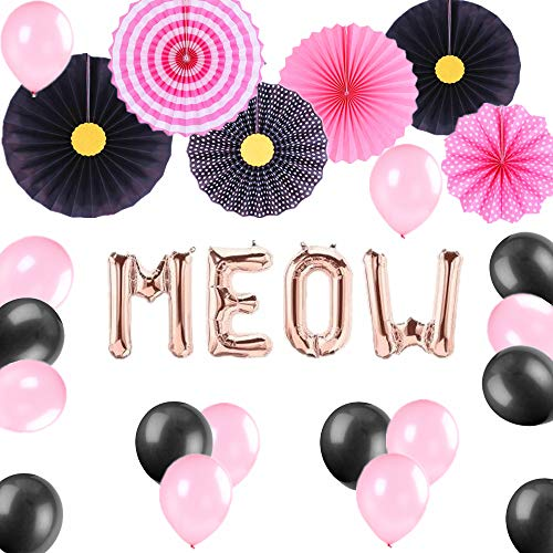 JeVenis Set of 27 Black and Pink Meow Party Balloons Meow Balloons Meow Birthday Decoration Kitten Birthday Party Decor Balloon Kitty Birthday Party Banner Meow Banner Kitty Party Cat Birthday -
