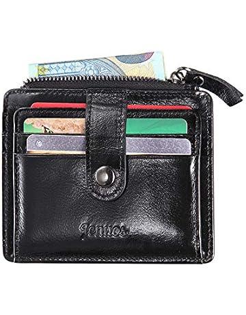 9483f21d0ffa0e Porta Carte di Credito Uomo, Jenuos piccolo sottile Portafoglio Vintage in  Vera Pelle con Blocca
