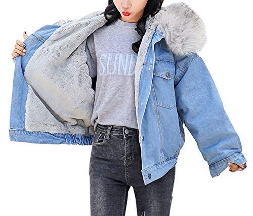 5331656cf844 Yimoon Women's Fleece Lined Short Denim Trucker Jacket Jean Coat with Fur  Hood