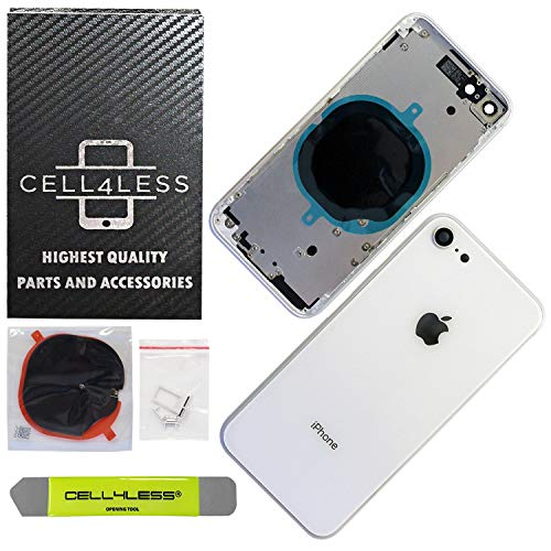 CELL4LESS Back Housing Assembly Metal Frame w/Back Glass - Wireless Charging pad - Sim Card Tray adn Camera Frame and Lens for iPhone 8 (White)