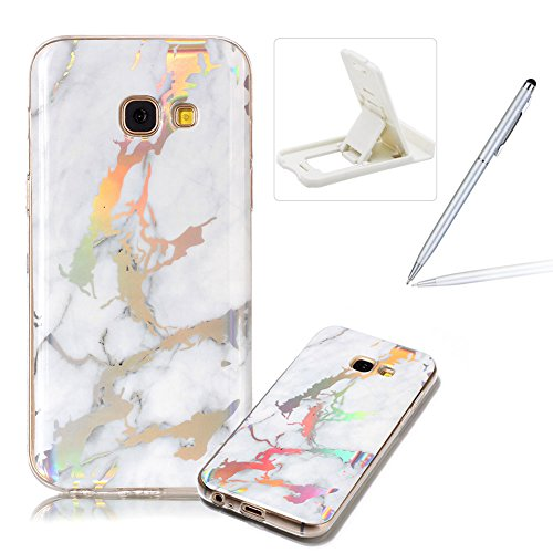A3 Rubber (Rubber Case for Samsung Galaxy A3 2017 A320,Soft TPU Cover for Samsung Galaxy A3 2017 A320,Herzzer Premium Stylish Marble Pattern Scratch Resistant Slim Fit Silicone Back Cover - White)