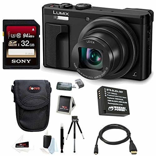 Panasonic Lumix DMC-ZS60 Digital Camera (Black) + Sony 32GB Memory Card + Wasabi DMW-BLG10 Li-ion Battery + Focus HDMI to Micro HDMI Cable (6 FT) + Focus Camera Accessory Bundle For Sale