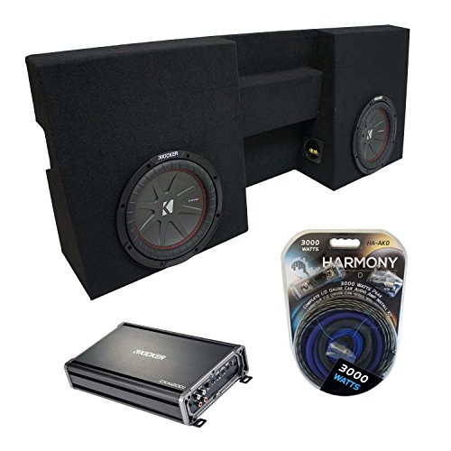 "Compatible with 2005-2015 Toyota Tacoma Double Cab Truck Kicker CompR CWR10 Dual 10"" Sub Box Enclosure & CXA1200.1 (Renewed)"