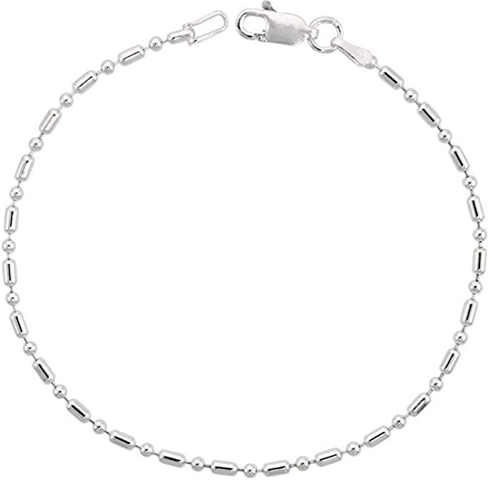 Sterling Silver Bracelet Pallini Bead Dot Dash Ball 7 inch Dainty Cute Chain for Women Girls Anniversary Birthday Mother's Gifts SB2-B