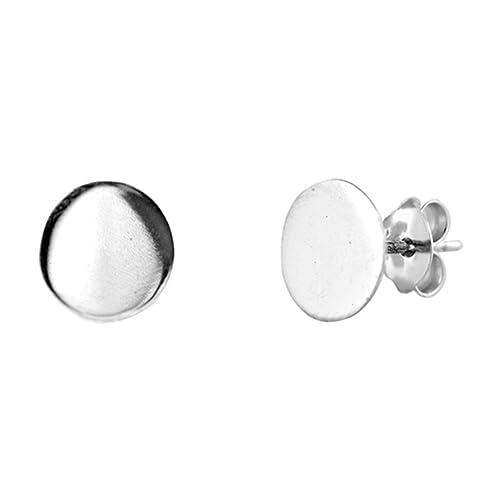 ad4e013a9 High Polish Large Flat Circle Round .925 Sterling Silver Minimalist Stud  Earrings: Amazon.ca: Jewelry