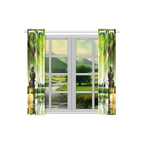 your-fantasia Japanese Bamboo Fountain Spa Stones Flow Water Window Curtain Kitchen Curtain Two Pieces 26 x 39 inches by your-fantasia (Image #2)