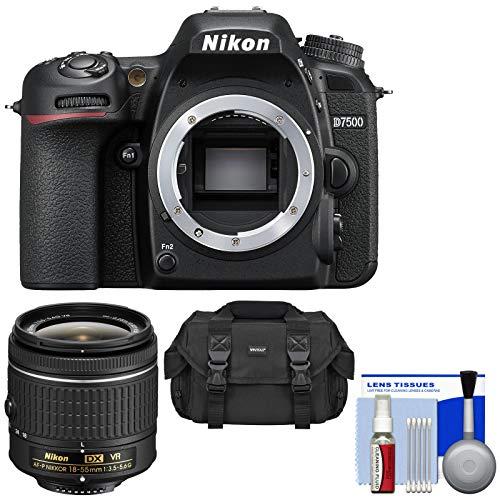 Nikon D7500 Wi-Fi 4K Digital SLR Camera Body with 18-55mm G VR AF-P Lens + Case + Kit (Renewed)