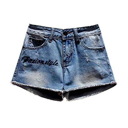Jeans Donna Ricamo Da Dechired Oudan Pantaloncini Chic Con Blu Mini Lettere Vintage xSwYTqqZ