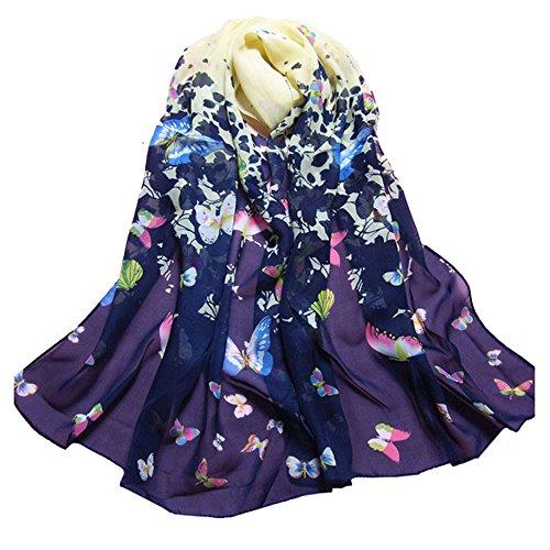 Datework Women Butterfly Printed Flower Soft Chiffon Scarf Wrap Shawl (Butterflies Dresser Scarf)