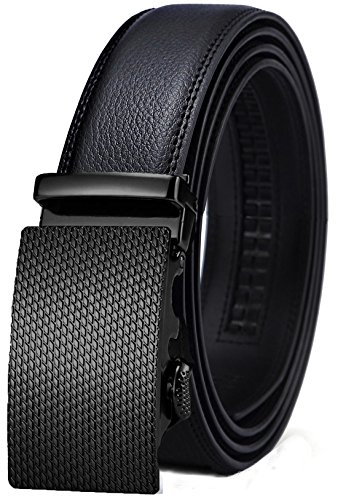 Black Buckle Genuine Belt (Belt for Men,Bulliant Men's Click Ratchet Belt Of Genuine Leather,Trim to Fit)