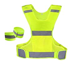 KAISIR Reflective Running Vest High Visibility Comfort for Men Women.Keeps On or Off Road Runners Seen Safe. 2 FREE Reflective Arm/Leg Bands.Run Walk or Cycle with the Minimalist Lightweight