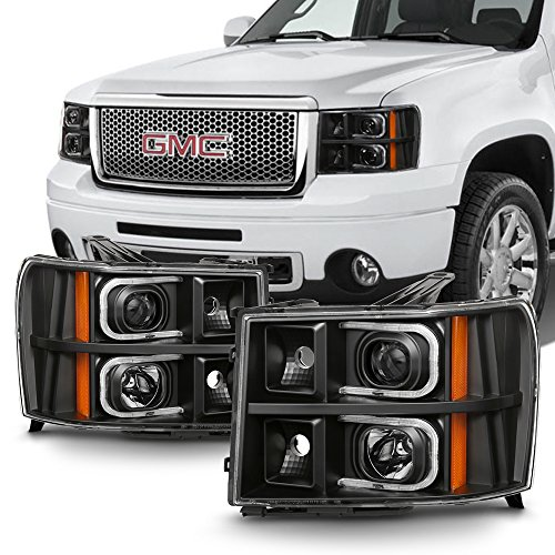 - For 2007-2013 GMC Sierra 1500 2500HD 3500HD Black LED Projector Headlights Driver Left+Passenger Right
