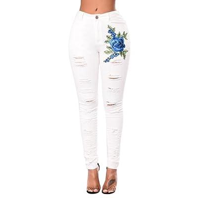 64bf3385cb18c WanYang Mujeres Bordado Jeans Skinny Cintura Alta para Mujer Pantalones  Denims Vaqueros Leggings