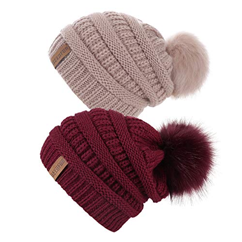 QUEENFUR Women Knit Slouchy Beanie Chunky Baggy Hat with Faux Fur Pompom Winter Soft Warm Ski Cap (Burgundy/Rose Pink - Hat Cable Knit Chunky