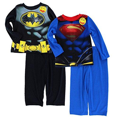 Batman v Superman Toddler 2fer Poly Pajamas Set (2T, Batman v Superman) (Superman: Man Of Steel Cape)