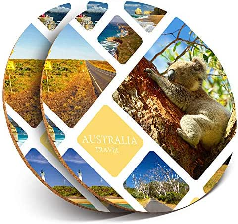 Great Coasters (Set of 2) Round with - Australia Collage Koala Beach Drink Glossy Coasters/Tabletop Protection for Any Table Type #21169