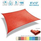 Patio Paradise 8' x 12' Red Sun Shade Sail Rectangle Canopy - Permeable UV Block Fabric Durable Patio Outdoor - Customized Available