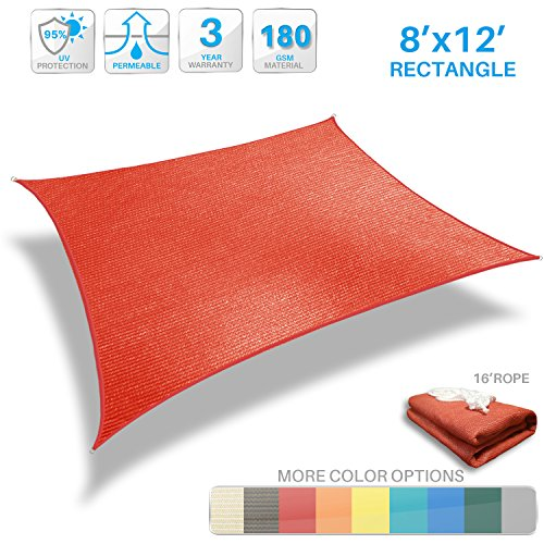 Awning Fabric (Patio Paradise 8' x 12' Red Sun Shade Sail Rectangle Canopy - Permeable UV Block Fabric Durable Patio Outdoor - Customized Available)