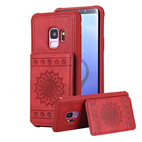 Aearl Samsung Galaxy S9 Folding Wallet Case with Strap,Samsung Galaxy S9 Emobossed Sunflower Leather Case Cover with Card Holder Detachable Wristlet Stand for Woman Men-Red