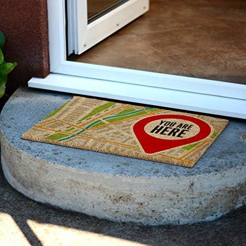 CKB Ltd You are Here Novelty Doormat Unique Doormats Front Back Door Mats Made with A Non-Slip PVC Backing – Natural Coir – Indoor Outdoor