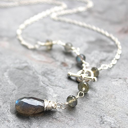 Toggle Clasp Labradorite Necklace Front Close Sterling Silver Gemstone Gray 18 Inches