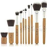 LyDia® UK STOCK Professional Natural Bamboo Handles Super Soft Bristles Eco-friendly Foundation/Face Powder/Concealer/Eyeshadow/Blending/Contour 10 pcs Makeup Brush Set