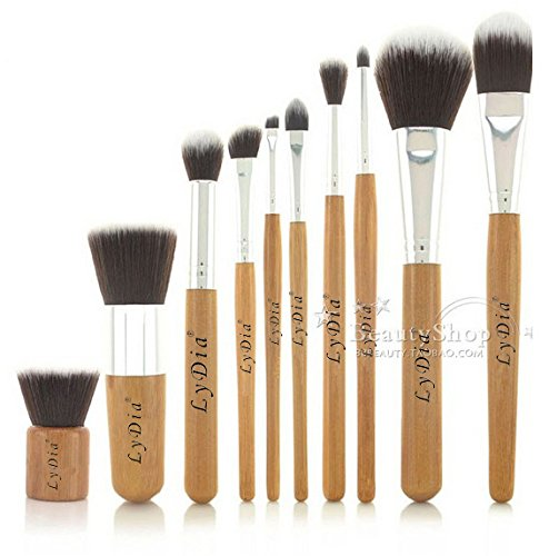 LyDia® UK STOCK Professional Natural Bamboo Handles Super Soft Bristles Eco-friendly Foundation/Face Powder/Concealer/Eyeshadow/Blending/Contour 10 pcs Makeup Brush Set LyDia Beauty 10pcs bamboo