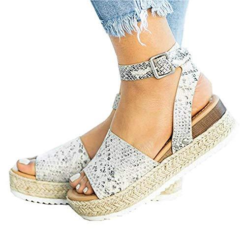 (Liyuandian Womens Open Toe Espadrille Ankle Strap Boho Lace Up Rivet Flatform Sandals (40 EU-10.58in(Foot Length)-9 US, E Snake-Print))