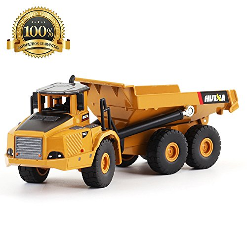 1:50 Scale Children Kids Static Die-cast Articulated Dump Truck Model - Free Wheeler Die Cast Construction Vehicle - Cool Toy Car for 6 Years and Up 51 STi1yrNL