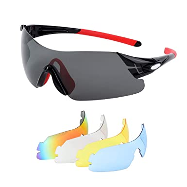 09c8312dc158 Polarized Sports Sunglasses with 5 Interchangeable Lenses UV400 Protection  Sports Sunglasses Cycling Running Glasses Sport Eye Protective Glasses for  Men ...