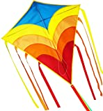 Rainbow Diamond Kite 31 Inch Wide , Easy Flyer  Kites for Kids and Adults,Includes Kite Line Spool and 157 Inch Long Tail,  Best Flying Toys for Boy and Girl for the Beach,Park and Square by ZHONGRAN