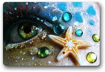 """ScottShop Fashion Custom Eyes Mermaid Starfish Doormat 30""""(L) x 18""""(W) Home Decor Indoor/Outdoor/Shower/Floor/Bathroom Mat Rug"""