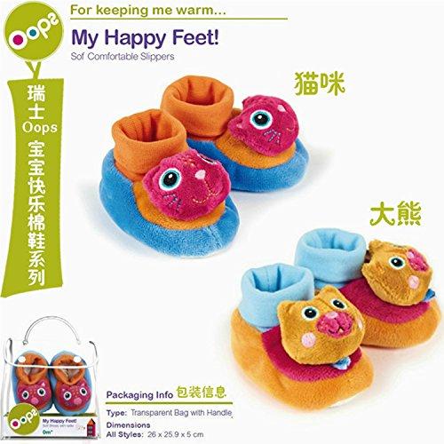 Oops 61001.21suave bebé zapatos/zapatillas con suela antideslizante y sonajero con animales patrón–Gato