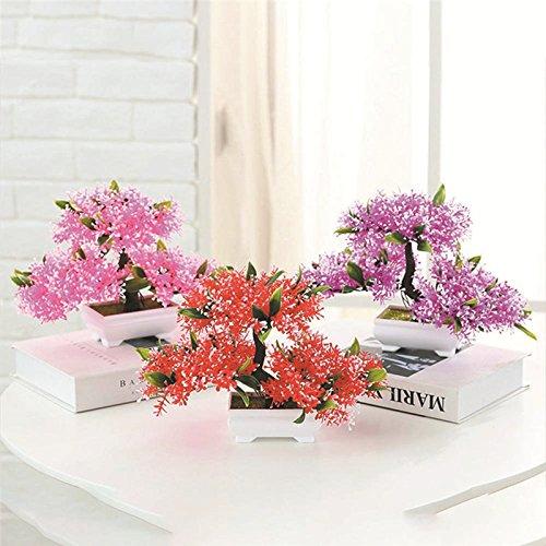 TRIEtree Artificial Bonsai, 2Pcs Plastic Mini Creative Bonsai Tree Flower Potted for Office Home Living Room Table Decor by TRIEtree (Image #3)