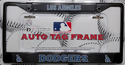 (Rico Los Angeles Dodgers LA Black Metal Chrome License Plate Tag Frame Cover Baseball)