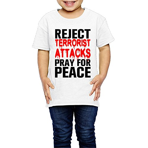 Candi Girl's&Boy's NO TERROR JUST PEACE O-neck Tees Size 4 Toddler White