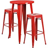 """Flash Furniture 24"""" Round Red Metal Indoor-Outdoor Bar Table Set with 2 Square Seat Backless Stools For Sale"""