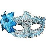 light blue mardi gras mask - CMrtew ❤️ Costume Mask Gras Flower Diamond Masquerade Halloween for Party,Prom,Mardi Lace (Blue, 19x10cm)