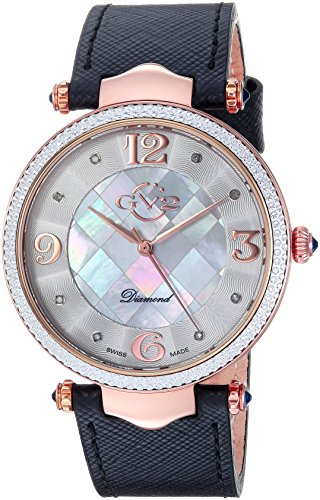 GV2-by-Gevril-Womens-Sassari-Swiss-Quartz-Stainless-Steel-and-Leather-Casual-Watch-ColorBlack-Model-1001