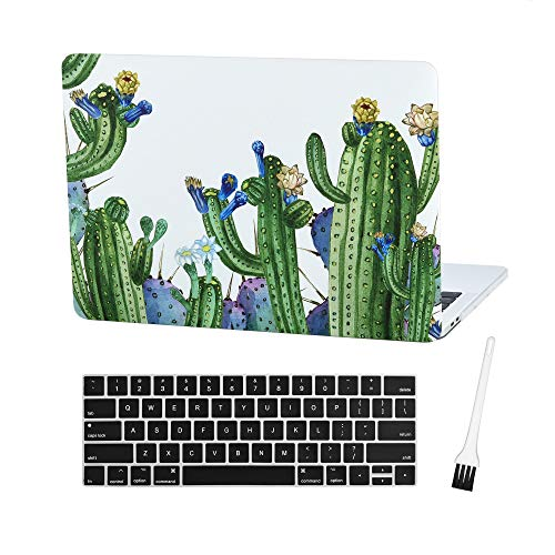 MacBook Pro 13 Case Laptop Plastic Cover Protective Sleeve 2018 2017 2016 Release A1989/A1706/A1708, Plastic Hard Shell & Silicone Keyboard Cover Compatible Newest Mac Pro 13 Inch (Cactus-Blue flower)