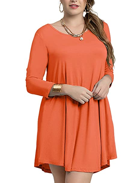 53677bb0f472c LARACE Women s Casual Loose 3 4 Sleeve Simple Plain Swing Flowy T-Shirt  Dresses